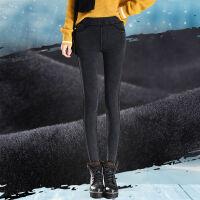 加绒打底裤女外穿高腰仿牛仔保暖裤冬季加厚紧身黑色小脚铅笔长裤