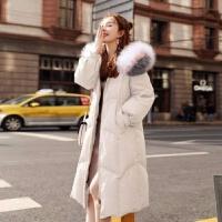 【】女中长款冬装韩版大毛领过膝宽松棉衣外套潮 白色 米白 M 建议100斤以下