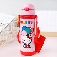 【教师节礼物】hellokitty 杯子 凯蒂猫不锈钢儿童水宝宝保温杯带吸管手柄婴儿学饮杯 KT-3607 粉红 45