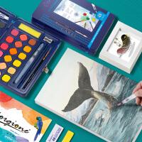 乔尔乔内24色36色48色圣玛丽固体水彩水粉画画颜料画笔本套装学生初学者美术生儿童颜料绘画用品可水洗便携
