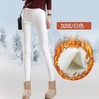 秋冬季白色加绒加厚修身打底裤外穿女保暖紧身高腰弹力小脚铅笔裤