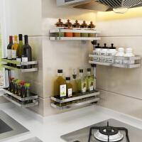 免打孔厨房置物架调料调味架壁挂式转角旋转多功能收纳架