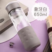 玻璃杯便携男女学生水杯大容量韩版创意潮流花茶随手泡茶杯子