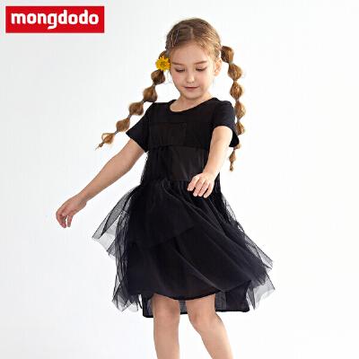 巴拉巴拉balabala梦多多童装女童裙子儿童夏装2019新款中大童女宝宝公主裙短袖纱裙