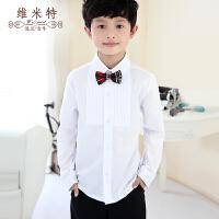男童白衬衫长袖儿童节目表演出服装男孩钢琴礼服衬衣白色大童装