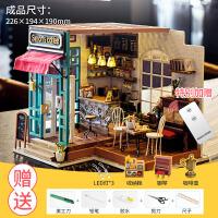 制作房子��意�Y物手工咖啡屋小屋迷你房子模型拼�b微�s玻璃屋