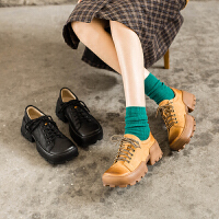 玛菲玛图低跟系带小皮鞋女春秋牛皮单鞋女欧美潮流休闲鞋女9038-10YMS