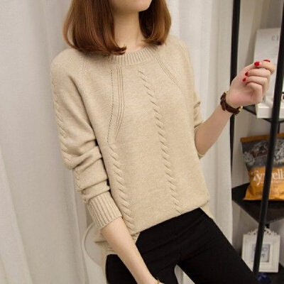 套头毛衣女秋冬圆领针织衫长袖短款打底衫女装韩版宽松上衣