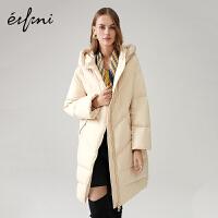 伊芙丽新款冬装大衣宽松白鸭绒中长款连帽羽绒外套女1AA980721