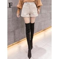 毛呢短裤女春装款新款冬季外穿高腰宽松百搭a型阔腿呢子靴裤