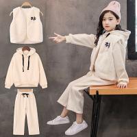 女童秋冬装2018新款韩版时尚卫衣运动洋气绒厚款三件套潮衣
