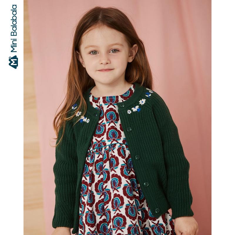 【1件6折】迷你巴拉巴拉宝宝针织衫女童长袖毛衣2019秋新品儿童绣花淑女风