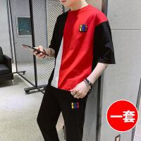 男士短袖T恤2019新款韩版潮流青少年学生一套上衣服夏季男装套装