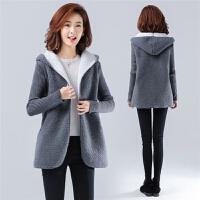 大码女装秋冬保暖20*码原创韩版气质显瘦羊羔毛加厚外套女 灰色