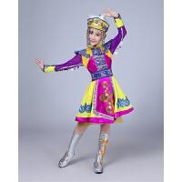 新款儿童蒙古族舞蹈演出服装少数民族表演服蒙族袍女童短裙筷子舞 黄色