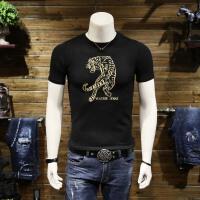 2018男士短袖��衫青年老虎刺�C毛衣��性半袖T恤春夏季打底小衫