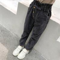 儿童休闲长裤2018新款韩版时髦洋气厚款灯芯绒冬季外穿