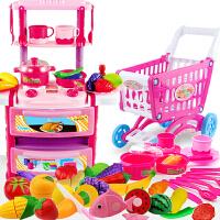 北美�和��N房玩具套�b �N具 �^家家玩具 女孩男孩做�女童3-6 粉色大�N�_38件+�物� �p�勇�光出水