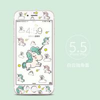 �O果7�化膜全屏覆�wiphone7plus卡通可��ipone7puls�化玻璃膜ip7p高清��彩膜