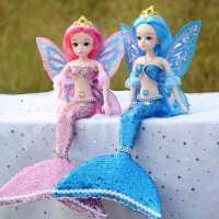 新款娃娃玩具可爱女孩礼物 手工芭比美人鱼娃娃眨眼人鱼公主单个