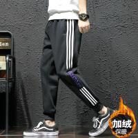 冬季加绒加厚运动裤男士加肥加大码韩版修身束脚裤潮流休闲男裤