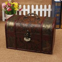 带锁木盒 复古木盒子欧式收纳盒拍摄道具创意木箱子桌面储物收纳箱