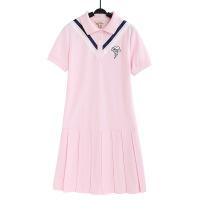 欧美女装学院风polo连衣裙女夏装2019新款粉色初中高中学生小清新网球裙子