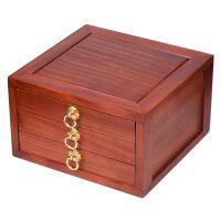 放普洱茶饼盒子实木茶具抽屉式红木茶盒木质分茶盘茶叶配件花梨木