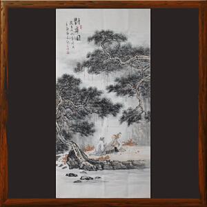 人物画《对弈图》石宏敬 ML3788 广西美协 专职画师