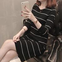 2019女装条纹V领毛衣女长袖中长款针织衫冬季打底连衣裙 S (建议80-100斤)