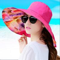 帽子女夏天大沿遮阳帽时尚户外出游太阳帽可折叠 玫红色-692大檐款 均码