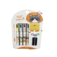 直液式墨囊 0021/0019/004钢笔套装 可换墨囊 萌猫图案钢笔套装 可擦蓝