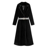19秋冬黑色拼接西装领风衣中长款收腰显瘦外套女 黑色撞边 配原图腰带