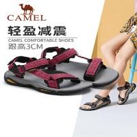 骆驼女鞋夏季平底休闲鞋户外鞋子运动凉鞋女魔术贴学生透气沙滩鞋