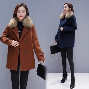 RANJU 然聚2018冬季新品新款毛呢外套女韩版秋冬款呢子大衣短款小个子妮子女装