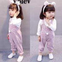 女童春装儿童0-1-2-3岁半4女婴儿春季小孩衣服女宝宝背带裤套装潮 粉红色 灯芯绒背带裤套装