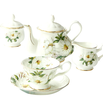 欧式茶具咖啡杯碟套装骨瓷咖啡具英式下午茶茶具陶瓷红茶杯 茶花15件 15件