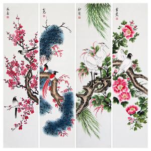 花鸟四条屏R4914 《富贵 和睦 如意 报喜》刘金瑞 陕西美协 一级美术师