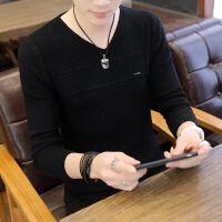男士秋款长袖毛衣V领套头纯色修身针织衫潮流学生打底衫长袖T恤男