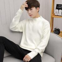 冬季半高领毛衣男韩版修身潮流宽松纯色个性帅气保暖打底针织线衫