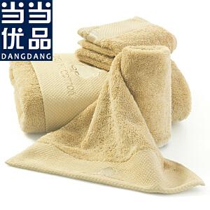 当当优品 进口埃及长绒棉钻石缎边 绣花浴巾 中驼色 70x140