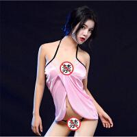 情趣内衣情趣套装性感睡衣女士sm清纯蕾丝深v诱惑大码睡裙 白色睡衣送丁字裤(适合80-125斤) 均码