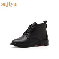 索菲娅2019秋冬新款女靴潮鞋粗跟欧美风马丁靴女短靴SF94116124