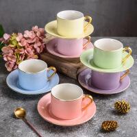 欧式陶瓷结婚茶具咖啡杯碟马克杯ins套装家用个性办公室杯子 白色