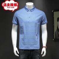 夏季爸爸短袖t恤男款中老年大码纯棉上衣中年男士polo衬衫领半袖