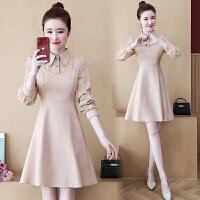 实拍大码女装2019冬季韩版胖MM气质减龄法式假两件连衣裙女