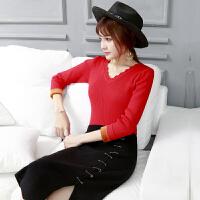加绒加厚毛衣女修身V领短款低领内搭针织打底衫秋冬季保暖鸡心领 红色 全身加绒