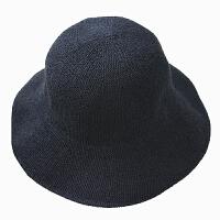 棉麻遮阳帽渔夫帽女日系针织盆帽韩国帽可折叠文艺小礼帽子夏 黑色 宽檐款