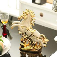 欧式家居装饰品酒柜摆件陶瓷家居摆设创意摆件结婚礼物镀金马 镀金马到成功