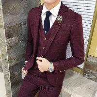 新郎结婚西服套装男士格子三件套小西装男套装伴郎团礼服韩版修身